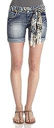 WallFlower Juniors Tie Belted Curvy Mid Thigh Denim Shorts