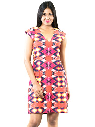 Roving-Mode-Womens-Cap-Sleeve-Cotton-Abstract-Print-A-Line-Formal-Knee-Length-Dress-Multi