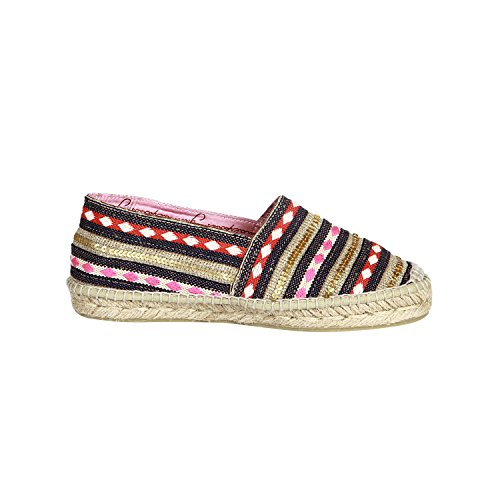 Gaimo Espadrilles Women's Fuchsia Blue Striped Espadrilles In Size 36 Colorful