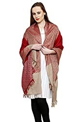 Uniscarf Red & Beige Pure wool jamawar Shawl with Tassels