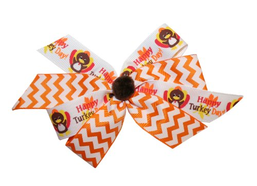Webb Direct 2U Girls Chevron Happy Turkey Day Hair Bow On French Clip (5156Fc) front-652254
