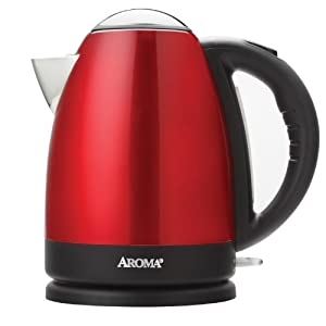 AROMA AWK-125R 7-Cup Stainless Steel Electric Kettle, Red by Aroma