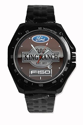 Truck F150 - King Ranch Logo Background Custom Snap On Black Watch Stainless Steel