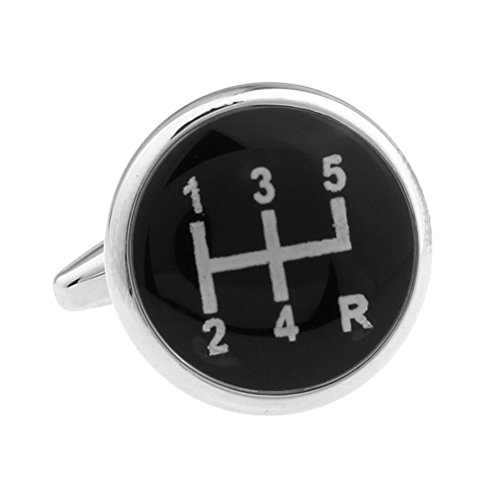 Silver Black Gear Shifter Car Auto Racing Groom Marriage Wedding Cufflinks (Gear Shifter Shirt compare prices)
