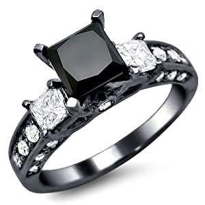 2.35ct Black Princess Cut 3 Stone Diamond Engagement Ring 14k Black Gold