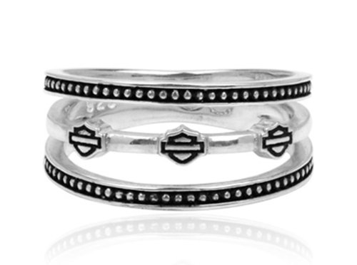 Harley-Davidson .925 Silver Triple Band B&S Womens Ring (6)