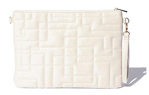 Amazon.co.jp: キルトデザイン 2WAY ショルダー クラッチバック 2色(ホワイト)+NONOKUROオリジナルシュシュ: シューズ&バッグ