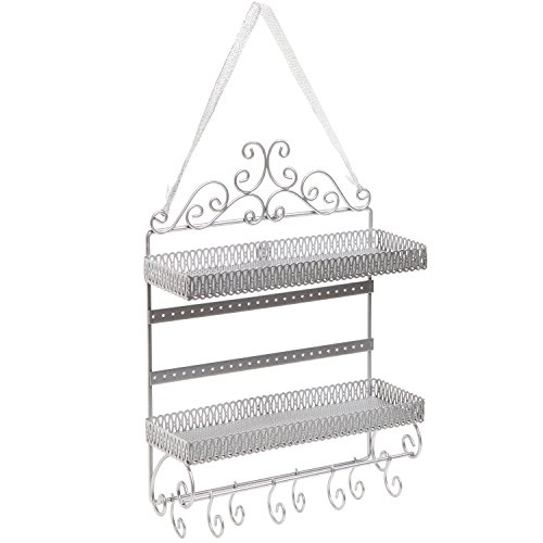 Silver Metal Scrollwork 2 Tier Earring / Necklace / Bracelet / Cosmetics Hanging Organizer Shelf Rack (Earring Rack Wall compare prices)