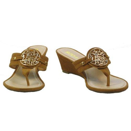 Soda Malibu-S Tan Stylish Womens Flip Flops Sandal Low Wedge