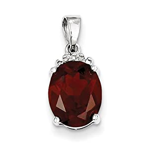 Genuine IceCarats Designer Jewelry Gift Sterling Silver Rhodium Garnet & Diamond Pendant In Sterling Silver