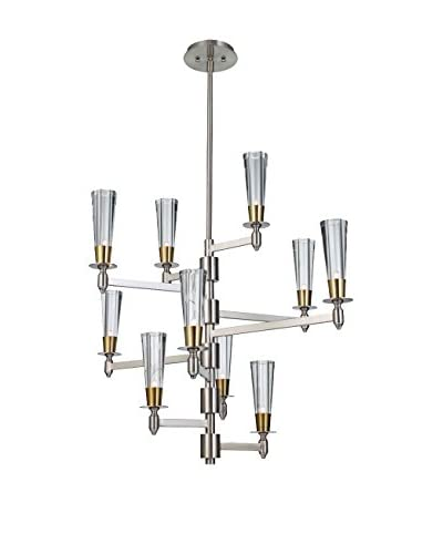 Feiss 10-Light Celebration, Brushed Nickel/Natural Brass