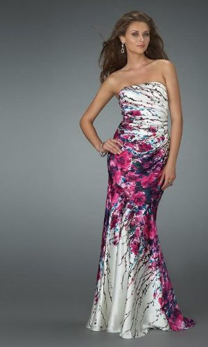 SATIN PRINTED PROM LONG EVENING BALL GOWN