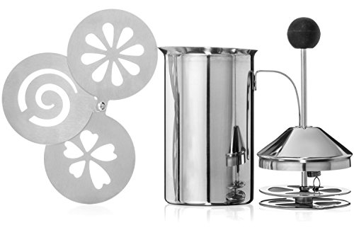 Brentmoor - Deluxe Stainless Steel Manual Milk Creamer/Frother - Complete w/ Cappuccino Stencils (Almond Milk Pitcher compare prices)
