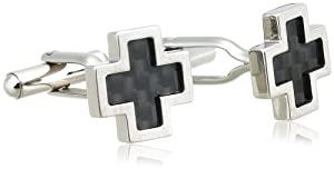 Men's Stainless Steel Cross Cuff Link with Carbon Detail