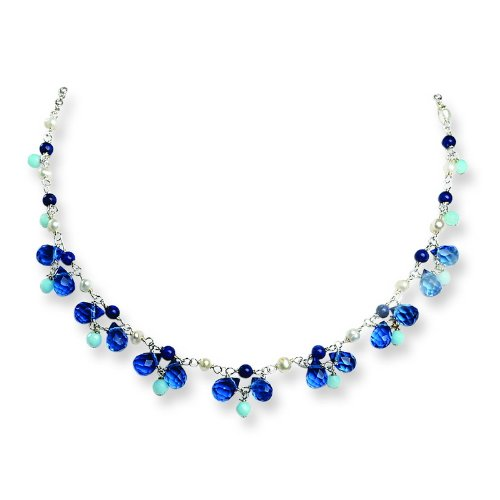 Sterling Silver Blue Crystal/Lapis/Amazonite/Cultured Pearl Necklace. 16in long.