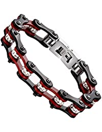Generic Punk Burgundy Black Biker Link Chain Mens Bracelet Stainless Steel Jewelry