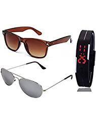 BROWN WAYFARER SUNGLASSES AND SILVER MERCURY AVIATOR SUNGLASSES WITH TPU BAND RED LED DIGITAL BLACK DIAL UNISEX...