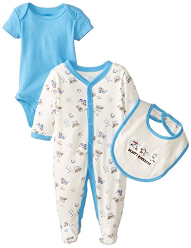 Vitamins Baby Baby-Boys Newborn Western Theme 3 Piece Footed Coverall Set, Ivory, 3 Months