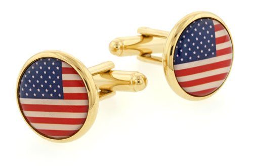 Gold plated cufflinks with a Stars and Stripes or American Flag accent with presentation box. Made in the USA