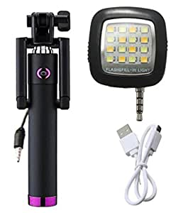 Novo Style Next Gen Compact Selfie Stick Wired for iPhone and Android - Black with 16 LED Selfie Night Flash Light Accessory Combo