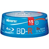 Blu-ray Memorex Blu-Ray Write Once 4X 25 GB BD-R Single Layer Media - 15 Pack In Cake Box