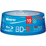 Blu-ray Memorex Blu-Ray Write Once 4X 25 GB BD-R Single Layer Media - 15 Pack in Cake Box