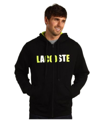 Lacoste Sport Full Zip Fleece Hoody With Lacoste Logo (XX-Large, Black/Lime Green/White)