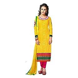 Renisha Fashion Women's Cotton Unstitched Salwar Suit (Yellow)
