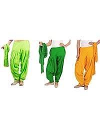 Rama Full Patiala Salwars With Dupattas Combo Of 3 ( Green, Lime Green,Yellow_Free Size)