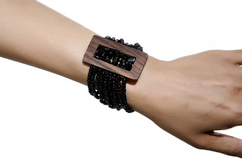 Ethnic Bracelet Accented  a Rectangular Wood