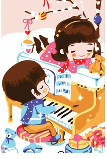 Diy oil painting, paint by number kits for kids - Piano 20X30cm.