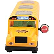 Techege Bright Yellow Toy School Bus, Emits Beautiful 3D Flashing Lights While Playing Music, - Move
