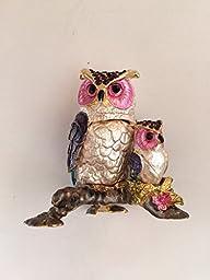 Bejeweled Owl Statue Trinket Jewelry Box