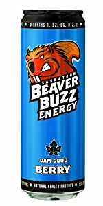Canadian Beaver Buzz BERRY Energy Drink - 24 pack case (May Come in French/Canadian Packaging)