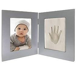 Clay Baby Handprint Photo Wall Frame - Grey