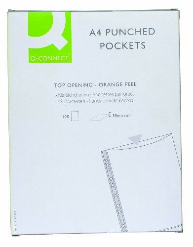 q-connect-punched-pocket-a4-50micron-pack-of-100
