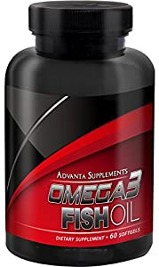 Advanta Supplements Omega3 Fish Oil, 60 Softgels (Pharmaceutical Grade Omega-3)