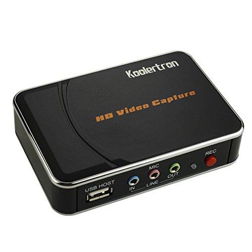 Koolertron - Game Capture Vidéo Boitier d'enregistrement sans PC HDMI/YPbPr HD 1080p haute définition pour Jeux Vidéo Xbox 360/PS3/Wii