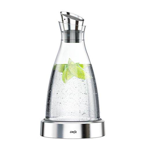 Emsa 505219 FLOW Carafe fraîcheur en verre et acier inoxydable, 1 litre, accumulateur de froid intégré, bec verseur à clapet,