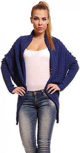 CAPRI MODA Cardigan lungo Poncho Mantella in maglia - donna - PARIS (Blu Jeans, IT 40/42)
