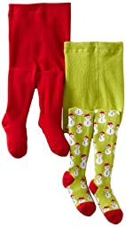 Country Kids Baby Girls\' Snowman 2 Pair Tights, Lime/Red, 12 24 Months
