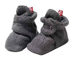 Zutano Unisex Baby Cozie Fleece Bootie, Gray, 18 Months