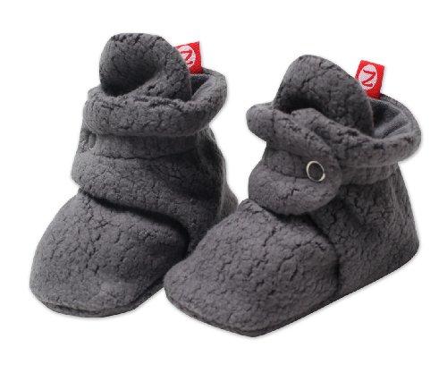 Zutano Unisex Baby Cozie Fleece Bootie, Gray, 6 Months
