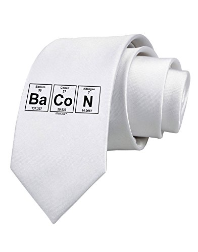 TooLoud Bacon Periodic Table of Elements Printed White Neck Tie