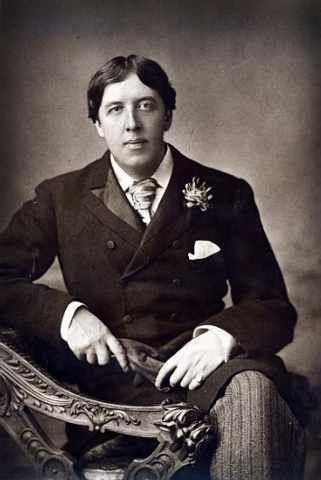 """Quadro con cornice: W. & Downey & D. """"Oscar Wilde, 1889"""" - stampa artistica decorativa, cornice di alta qualità, 45x70 cm, nero / angolo grigio"""