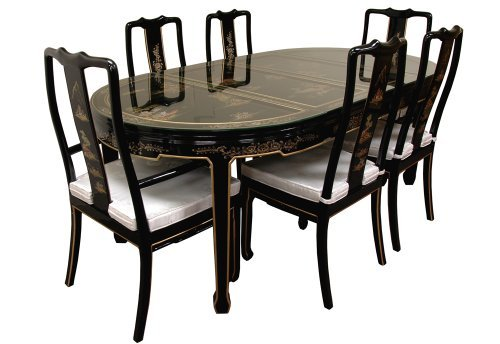 Oriental Furniture Fine Asian Style 82-Inch Ming Black Lacquer Dining Table Set with Hand Painted Landscape Design