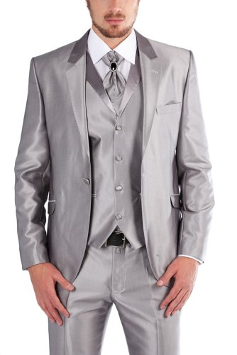 Mens Silver Shiny Wedding Party Suit Diamontes On Crovat 4 Piece