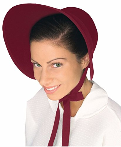 Brown Red Felt Colonial Pilgrim Ladies Hat Amish Mennonite Quaker Costume Bonnet (Burgundy Felt Bonnet)