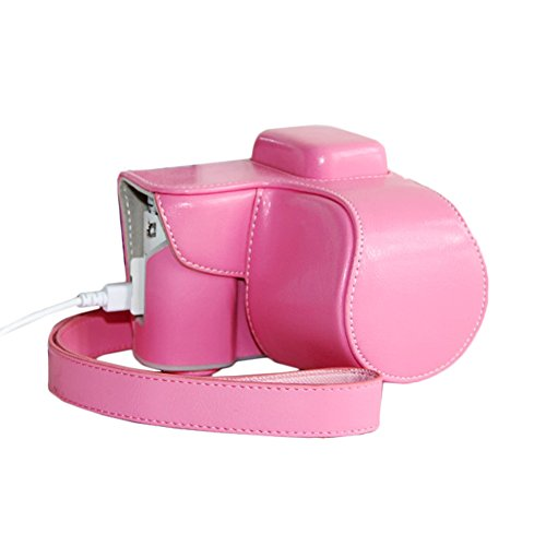 Win8Fong Pu Leather Camera Case Bag Cover For Samsung Nx3000 Charging Style / Pink