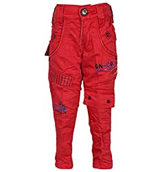 Generationext Boy's Cotton Slim Fit Jeans -Red, (2-3 Years)